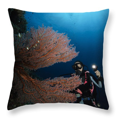 Diver Throw Pillow featuring the photograph Diver By Sea Fans, Indonesia by Todd Winner