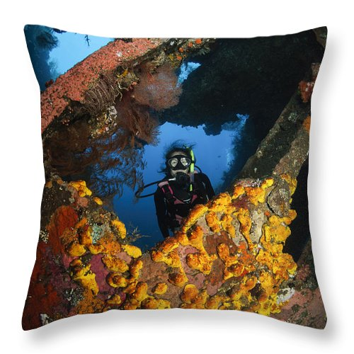 Liberty Wreck Throw Pillow featuring the photograph Diver Explores The Liberty Wreck, Bali by Todd Winner