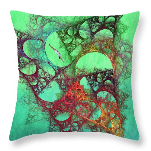 Fractal Throw Pillow featuring the digital art Diving by Betsy Knapp