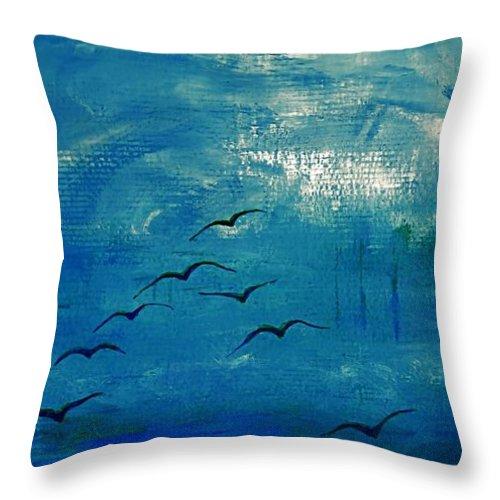 Mouettes Throw Pillow featuring the painting Dix Mouettes Pilotent Par Les Formes by Contemporary Luxury Fine Art