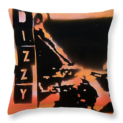 Jazz Throw Pillow featuring the painting Dizzyness by Tony B Conscious