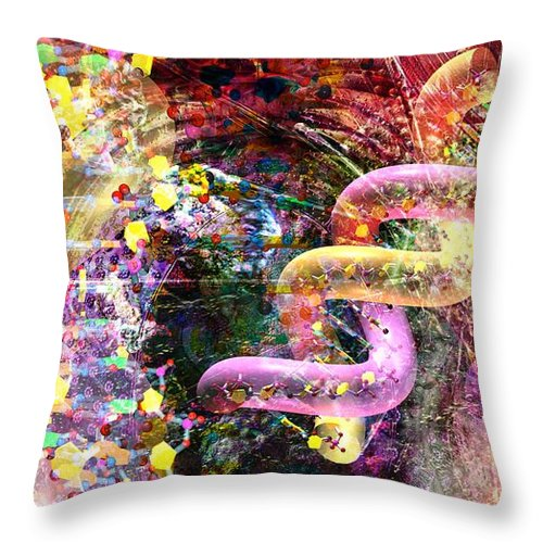 Abstract Throw Pillow featuring the digital art Dna Dreaming 3 by Russell Kightley