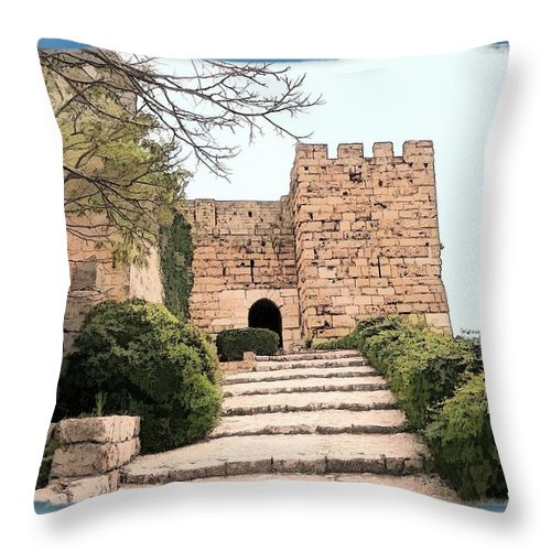 Foretress Throw Pillow featuring the photograph Do-00483 Byblos Citadel by Digital Oil