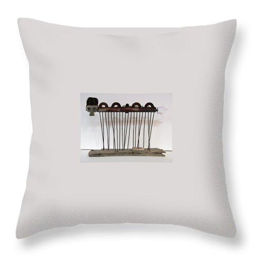 Sculpture Throw Pillow featuring the sculpture Dobblewalker by Snake Jagger