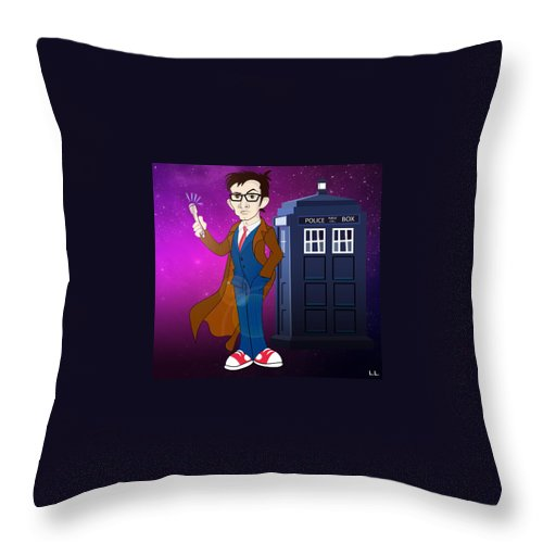 Doctor Throw Pillow featuring the painting Doctor Who And Tardis by Lisa Leeman