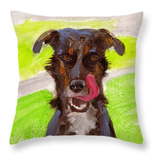 Got Kitty Throw Pillow featuring the painting Got Kitty? by Kazumi Whitemoon