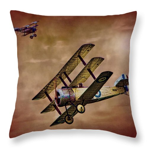 Triplane Throw Pillow featuring the photograph Dogfight 1918 by Chris Lord