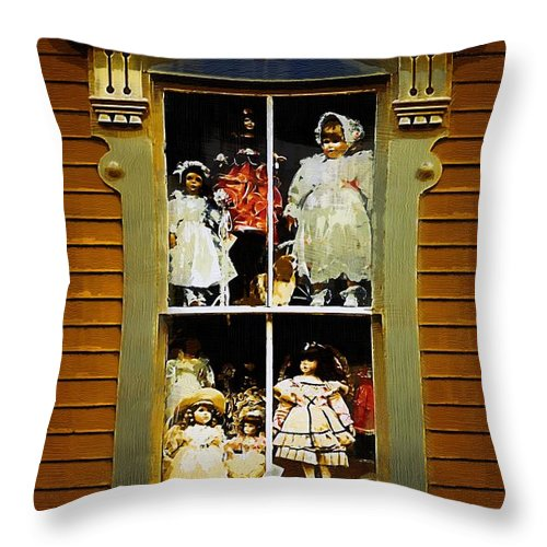 Antiques Throw Pillow featuring the painting Dollhouse Gothic by RC DeWinter