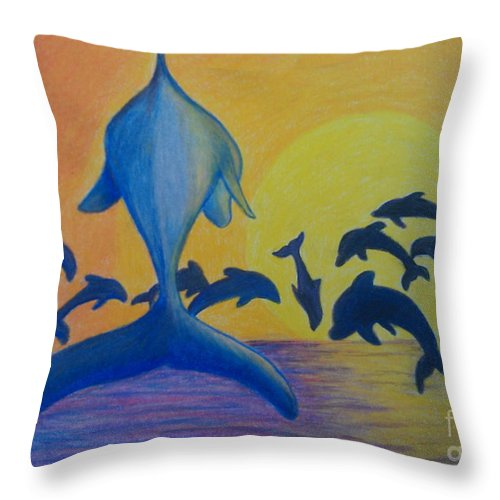 Dolphins Leaping Throw Pillow featuring the painting Dolphins Leaping by Bev Veals