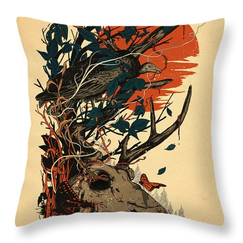 Skull Throw Pillow featuring the mixed media Dominate by Nicebleed