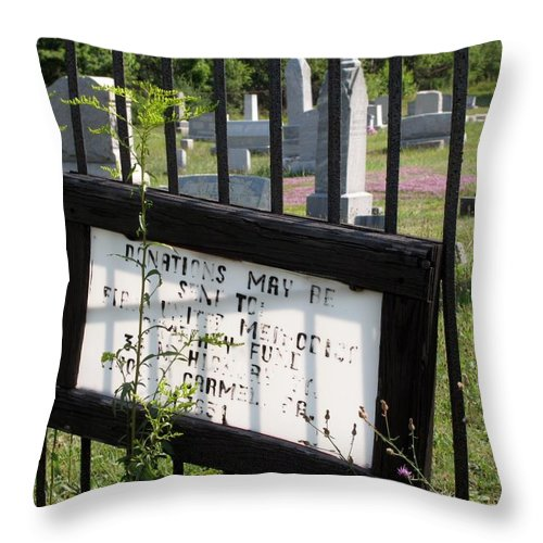 Graveyard Throw Pillow featuring the photograph Donations by Michele Nelson