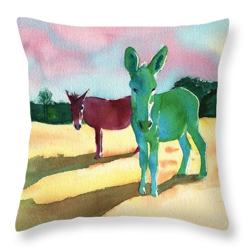 Donkeys With An Attitude Realistic Abstract Throw Pillow featuring the painting Donkeys With An Attitude by Sharon Mick