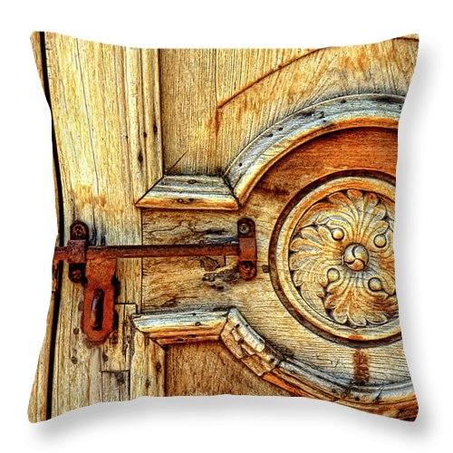 Door Study Throw Pillow featuring the photograph Door Study Taos New Mexico by Dave Mills