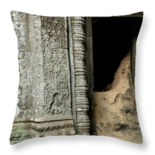Cambodian Youth Throw Pillow featuring the photograph Doorway Ankor Wat by Bob Christopher