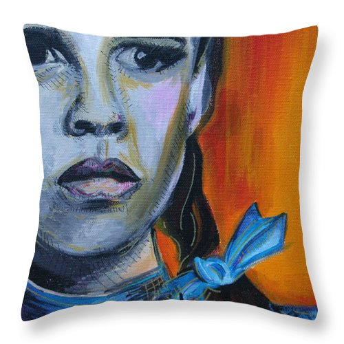 Wizard Of Oz Throw Pillow featuring the painting Dorothy by Kate Fortin