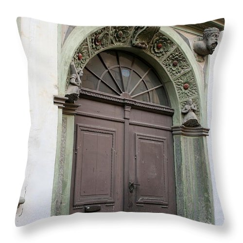 Old Door Throw Pillow featuring the photograph Double Door by Christiane Schulze Art And Photography