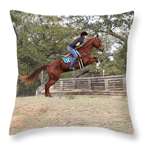 Roena King Throw Pillow featuring the photograph Double Up Hill Jump by Roena King