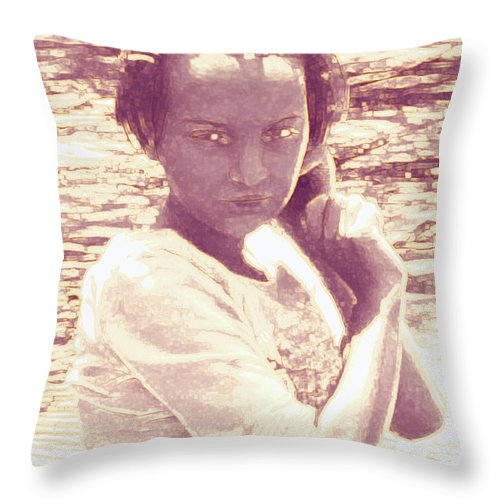 Girl Throw Pillow featuring the photograph Down By The River by Nina Fosdick