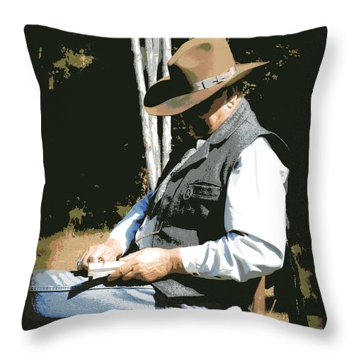 Western Throw Pillow featuring the digital art Down Time by Tina Meador