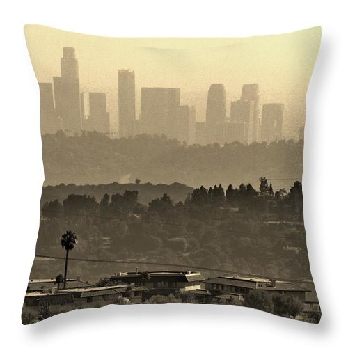 Downtown Throw Pillow featuring the photograph Downtown by Caroline Lomeli