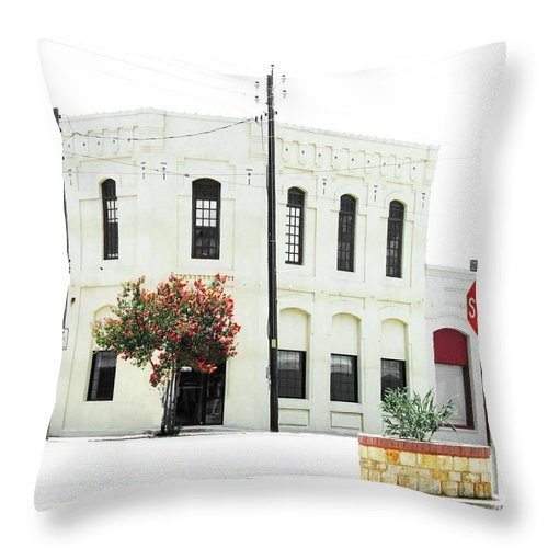 Texas Throw Pillow featuring the digital art Downtown Flouresville Texas by Lizi Beard-Ward