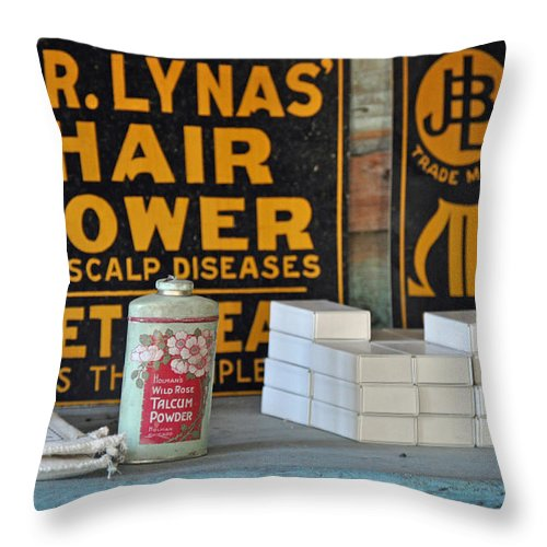 Hair Throw Pillow featuring the photograph Dr. Lyna's Hair Grower by Bruce Gourley