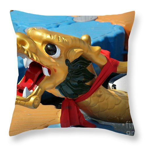 Boat Throw Pillow featuring the photograph Dragon Figurehad Of A Chinese Boat by Yali Shi
