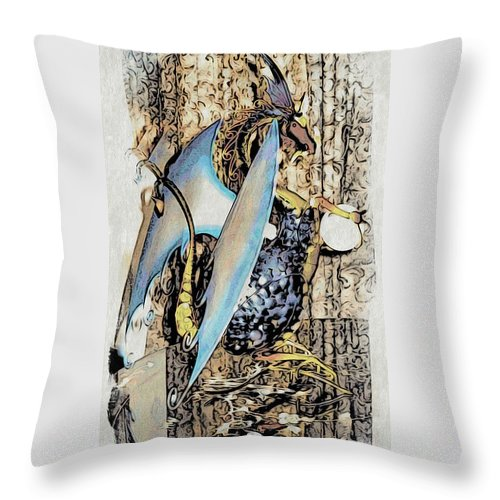 Dragon Throw Pillow featuring the photograph Dragon Reflexions And Repetition by Phyllis Kaltenbach