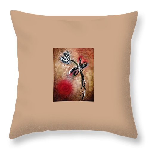 Abstract Art Throw Pillow featuring the painting Dragonfly Smile by Jill English