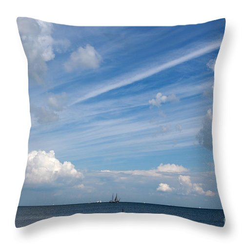 Painterly Sky Blue Clouds Pattern Speed Wind Boat Yacht Horizon  Throw Pillow featuring the photograph Drama In The Sky by Vilas Malankar