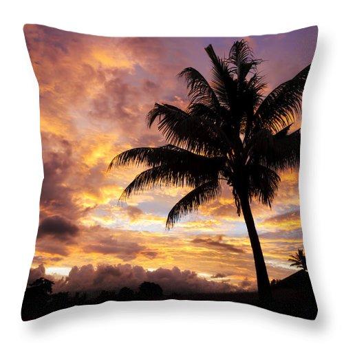 Air Art Throw Pillow featuring the photograph Dramatic Fiji Sunrise by Greg Vaughn - Printscapes