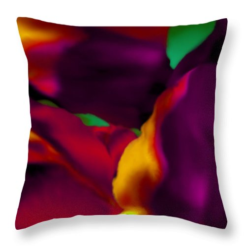 Tulip Throw Pillow featuring the digital art Dream Gardens - Tulip Petals - Shimmering Brights by Mathilde Vhargon
