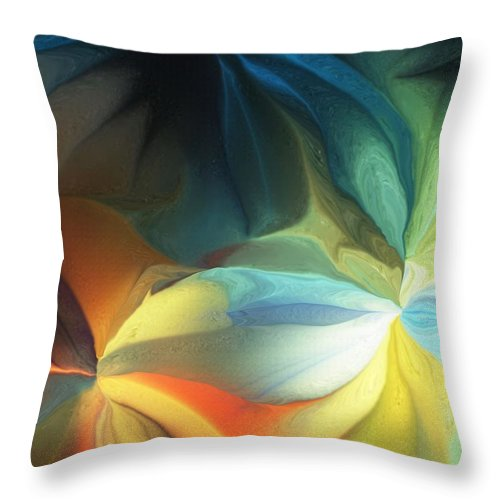 Fine Art Throw Pillow featuring the digital art Dreaming Night Blooms 2 by David Lane