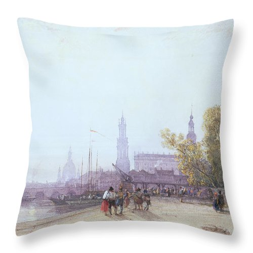Bridge Spire Throw Pillow featuring the painting Dresden by William Wyld