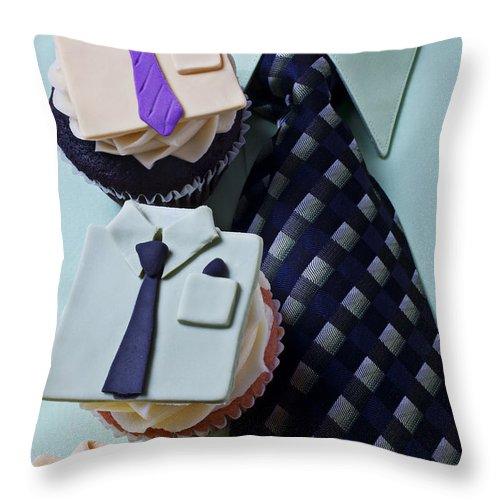 Cupcakes Throw Pillow featuring the photograph Dress Shirt Cupcakes by Garry Gay