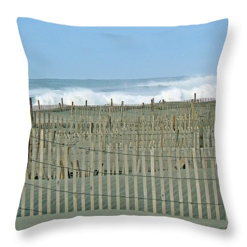 Storm Throw Pillow featuring the photograph Drift Fence by Pamela Patch