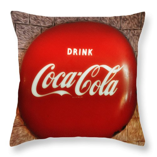 Drink Coca-cola Throw Pillow featuring the photograph Drink Coca-cola by Bill Cannon