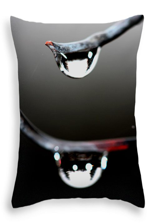 Rain Throw Pillow featuring the photograph Drops On A Wire by Marie Jamieson