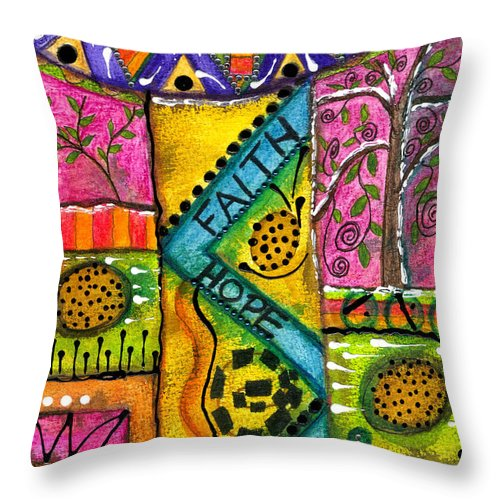 Greeting Cards Throw Pillow featuring the mixed media Drum Land by Angela L Walker