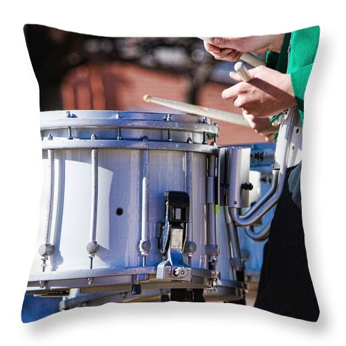 Band Throw Pillow featuring the photograph Drummer Boy by James BO Insogna
