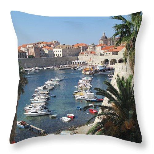 Elaine Haakenson Throw Pillow featuring the photograph Dubrovnik Croatia Port by Elaine Haakenson