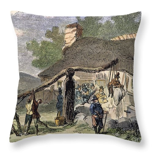 America Throw Pillow featuring the photograph Ducking Stool, 17th C by Granger