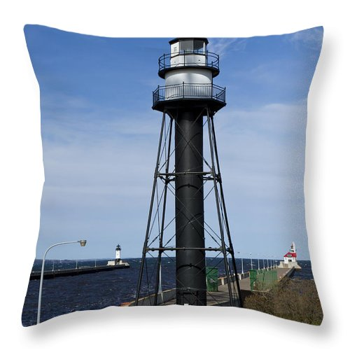 Pier Throw Pillow featuring the photograph Duluth Lighthouses 1 by John Brueske