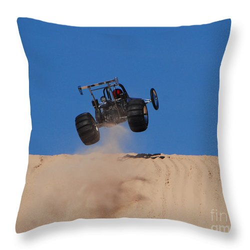 Dune Buggy Throw Pillow featuring the photograph Dune Buggy Jump by Grace Grogan
