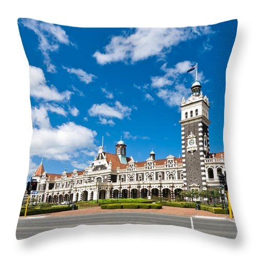 Arch Throw Pillow featuring the photograph Dunedin Railway Station During A Sunny Day by U Schade