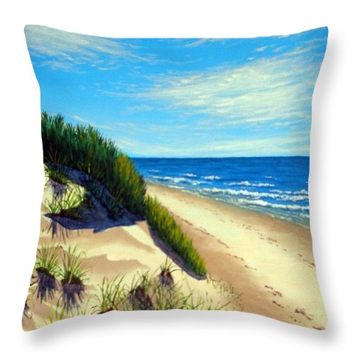Seascape Throw Pillow featuring the painting Dunes At Dalvay by Rick Gallant