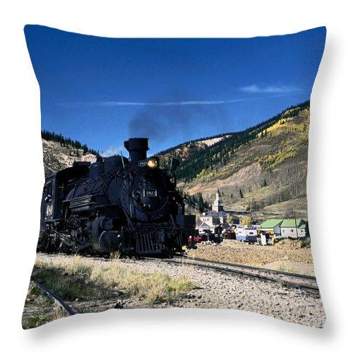 Durango & Silverton Train Leaving Silverton Throw Pillow featuring the photograph Durango And Silverton Train by Sally Weigand
