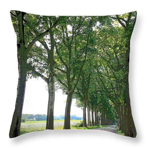 Dutch Road Throw Pillow featuring the photograph Dutch Road - Digital Painting by Carol Groenen
