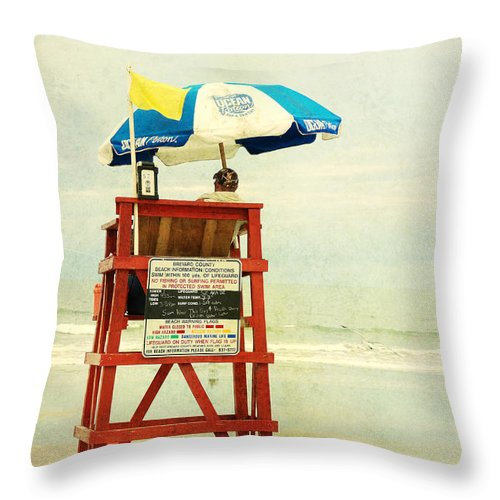 Beach Throw Pillow featuring the photograph Duty Time by Susanne Van Hulst