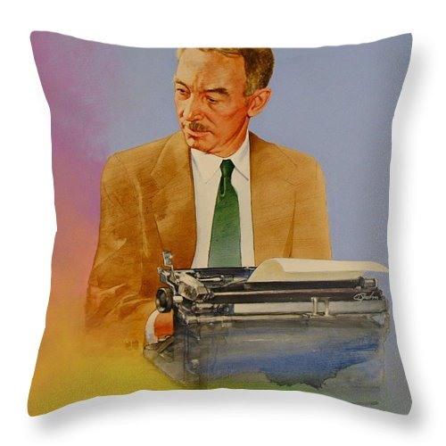 Acrylic Painting Throw Pillow featuring the painting E B White by Cliff Spohn